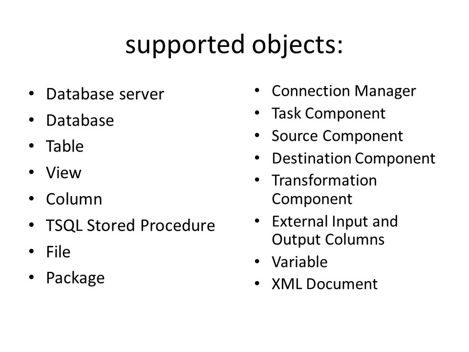 supported objects: Database server Database Table View Column