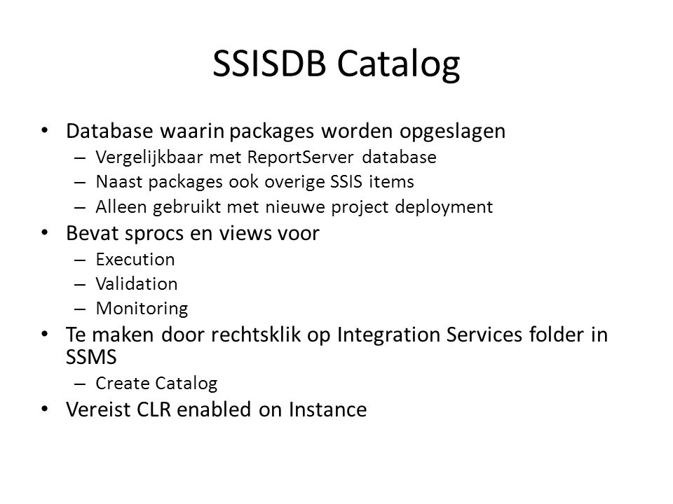 SSISDB Catalog Database waarin packages worden opgeslagen