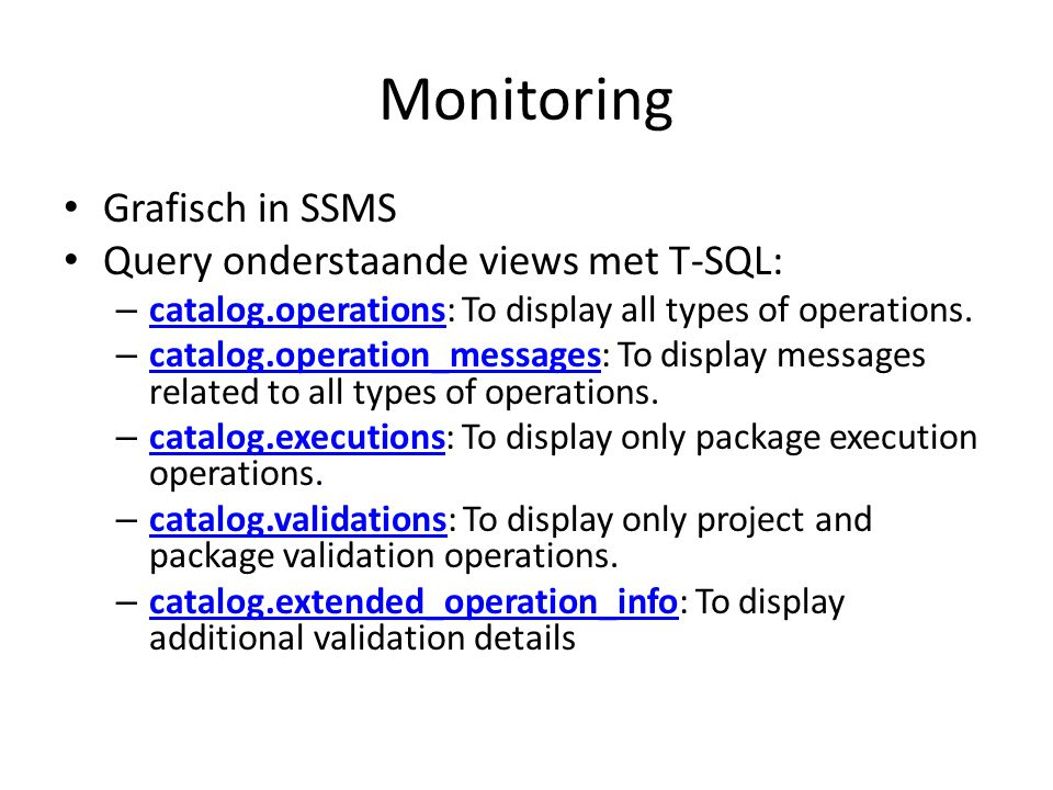 Monitoring Grafisch in SSMS Query onderstaande views met T-SQL: