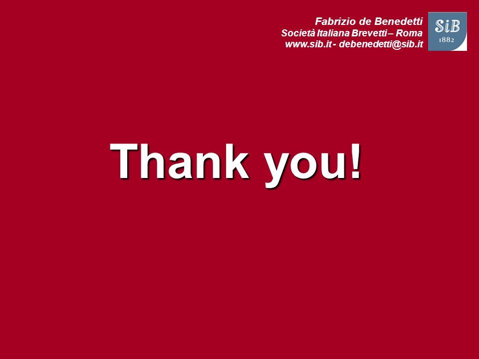 Thank you! Fabrizio de Benedetti Società Italiana Brevetti – Roma