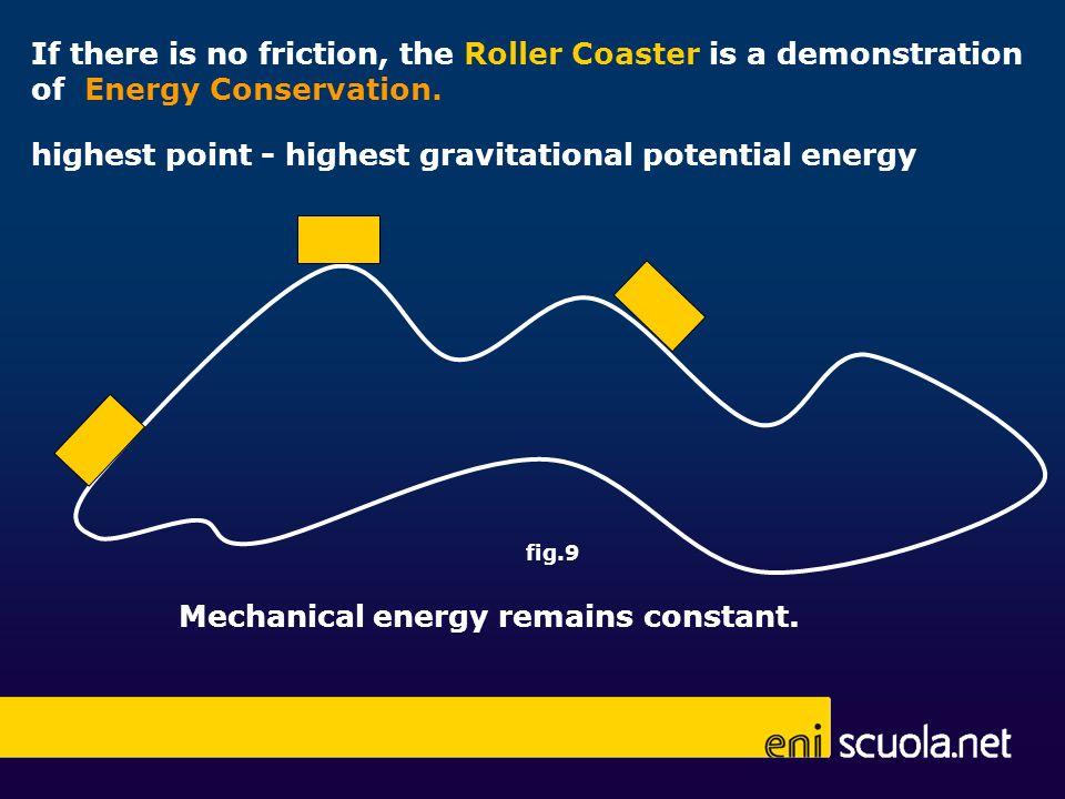 highest point - highest gravitational potential energy