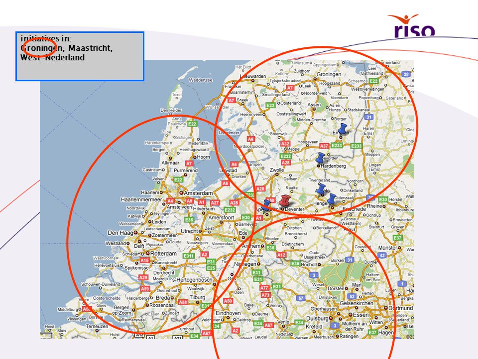 initiatives in: Groningen, Maastricht, West-Nederland