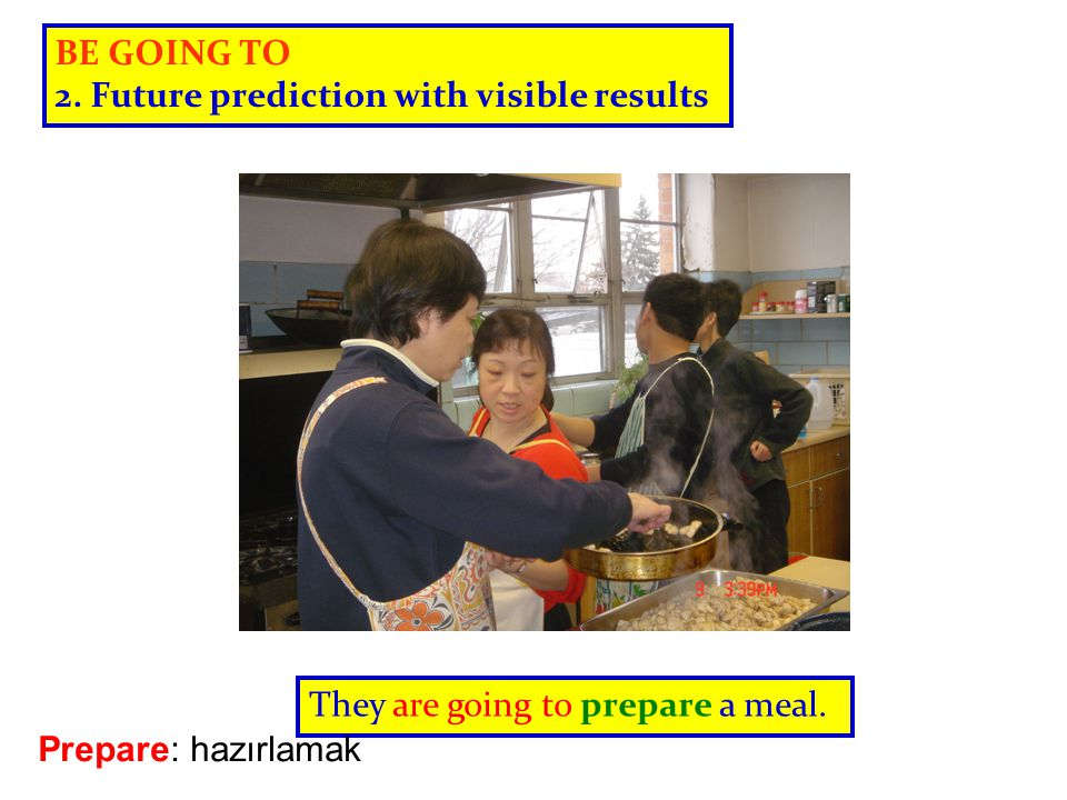 BE GOING TO 2. Future prediction with visible results.
