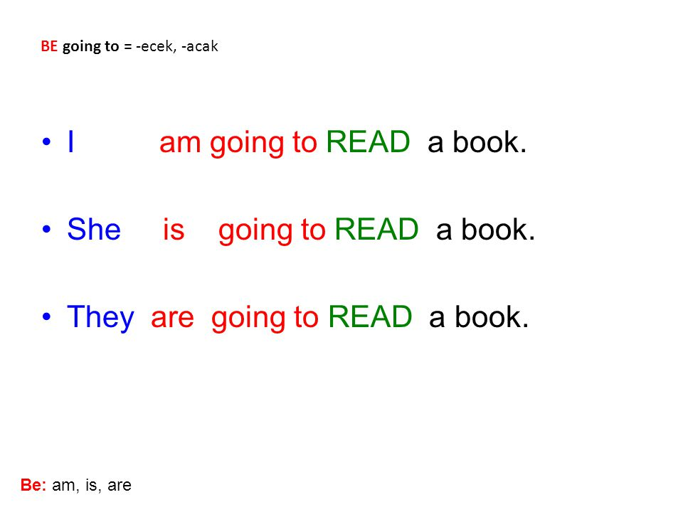 She is going to READ a book. They are going to READ a book.