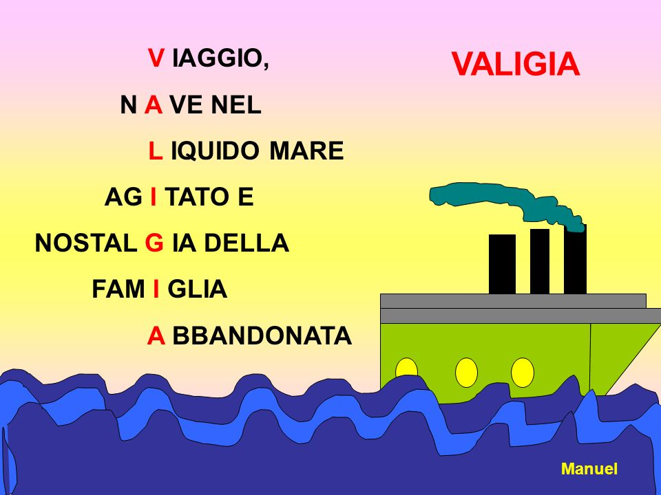 VALIGIA V IAGGIO, N A VE NEL L IQUIDO MARE AG I TATO E