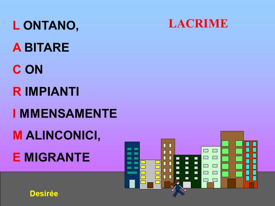 LACRIME L ONTANO, A BITARE C ON R IMPIANTI I MMENSAMENTE M ALINCONICI,