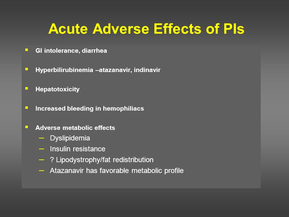 Acute Adverse Effects of PIs