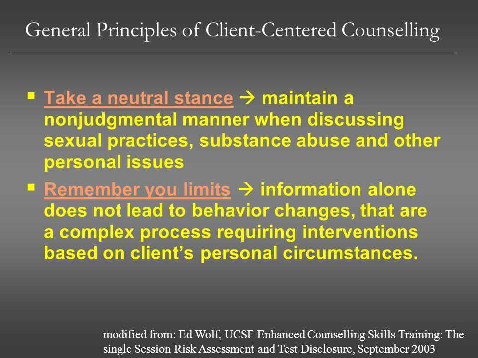 General Principles of Client-Centered Counselling