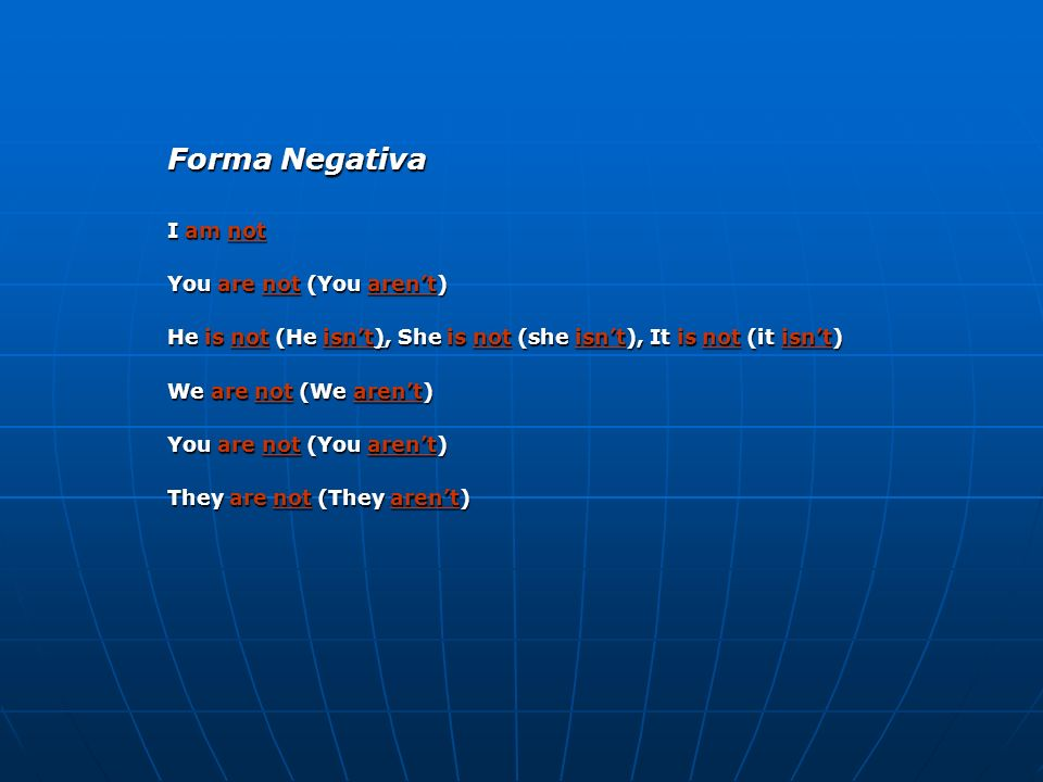 Forma Negativa I am not You are not (You aren't)