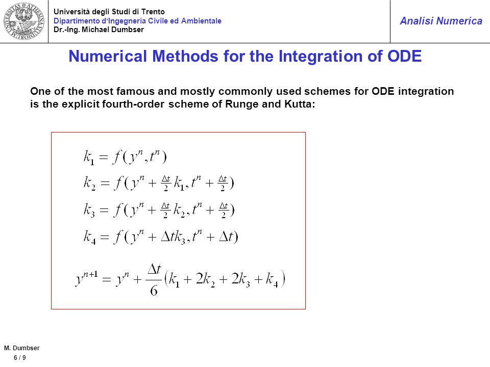 Numerical Methods for the Integration of ODE
