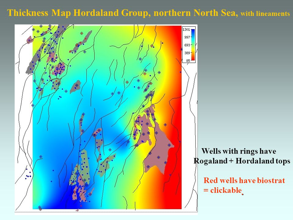 Thickness Map Hordaland Group, northern North Sea, with lineaments