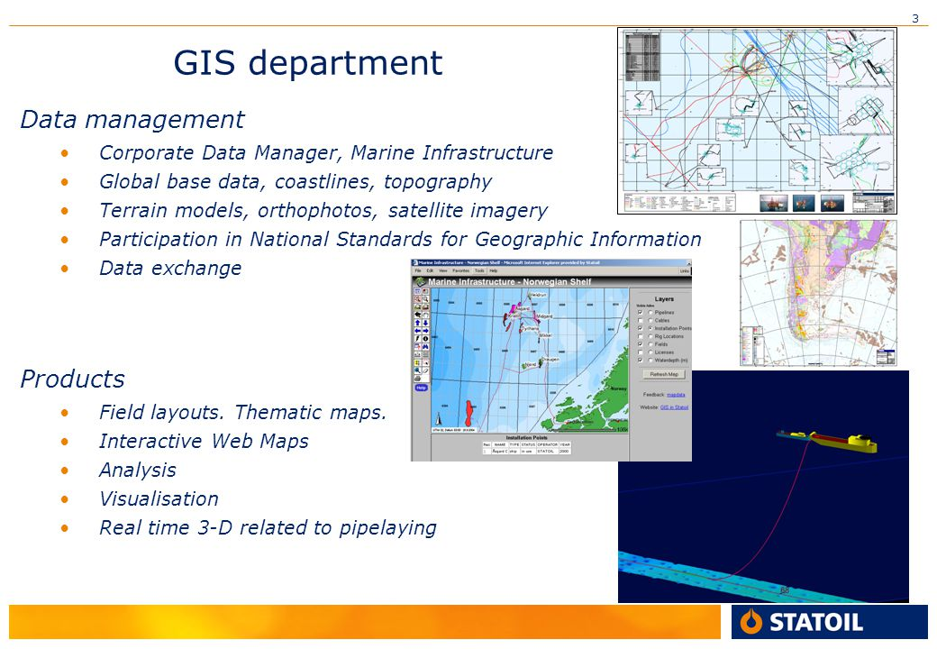 GIS department Data management Products