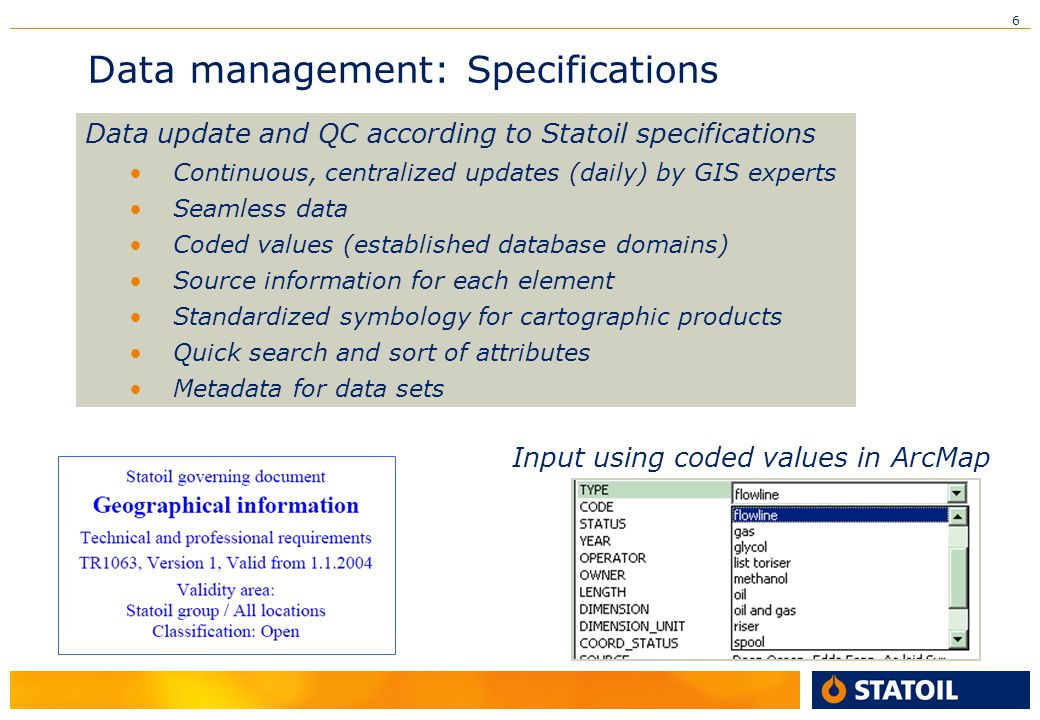 Data management: Specifications