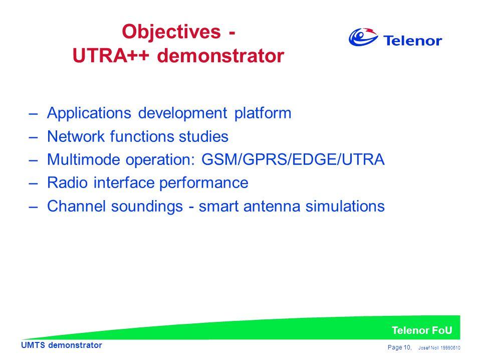 Objectives - UTRA++ demonstrator