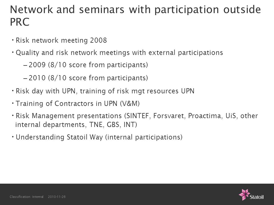 Network and seminars with participation outside PRC