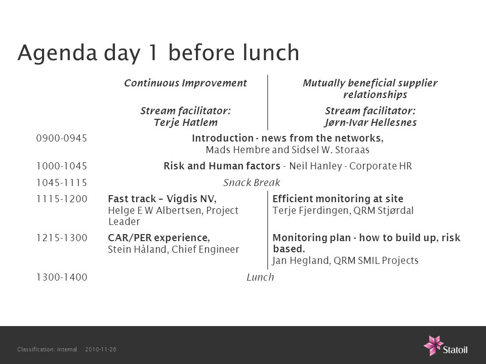 Agenda day 1 before lunch