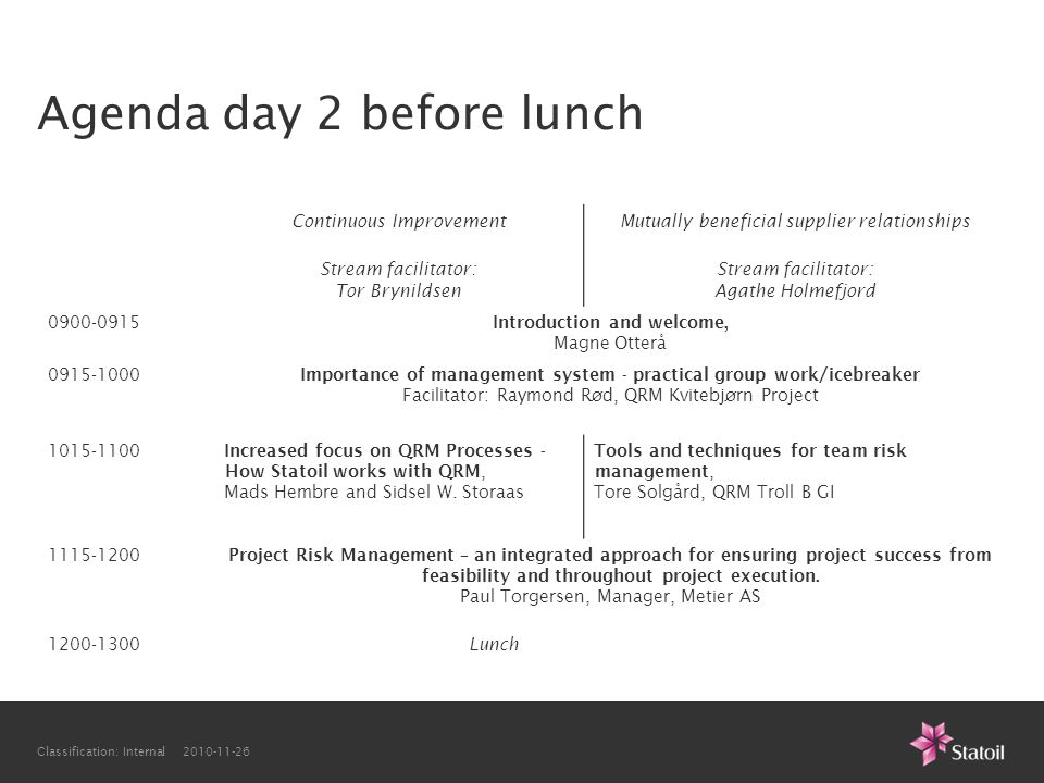 Agenda day 2 before lunch