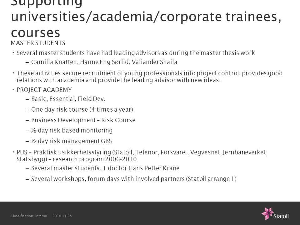 Supporting universities/academia/corporate trainees, courses