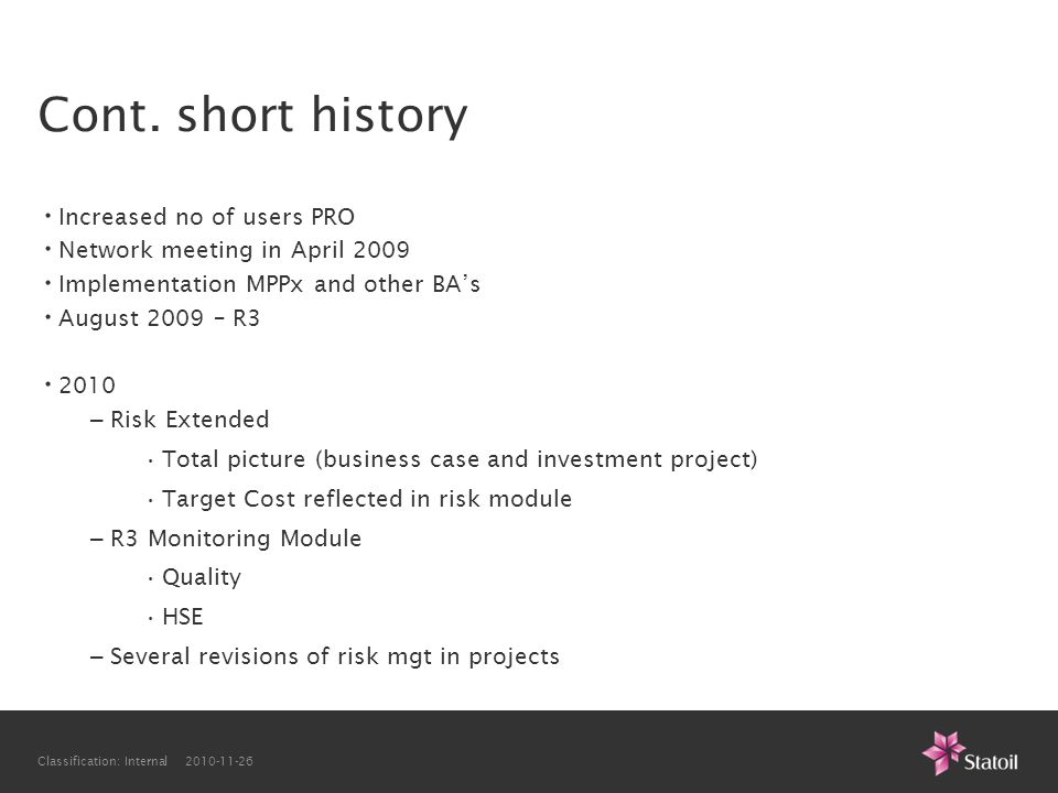 Cont. short history Increased no of users PRO