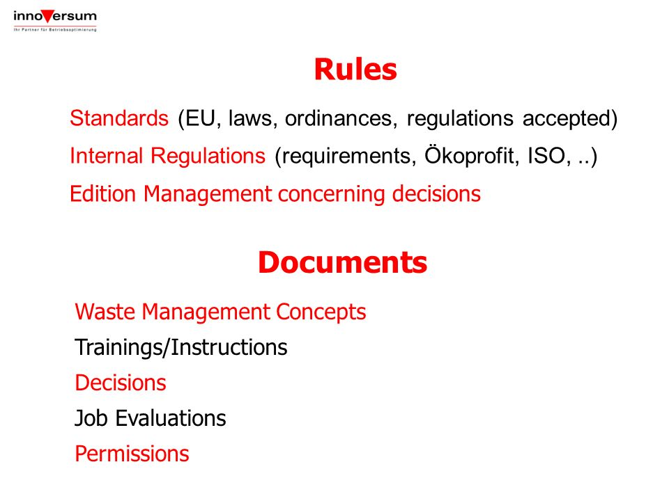 Rules Documents Standards (EU, laws, ordinances, regulations accepted)