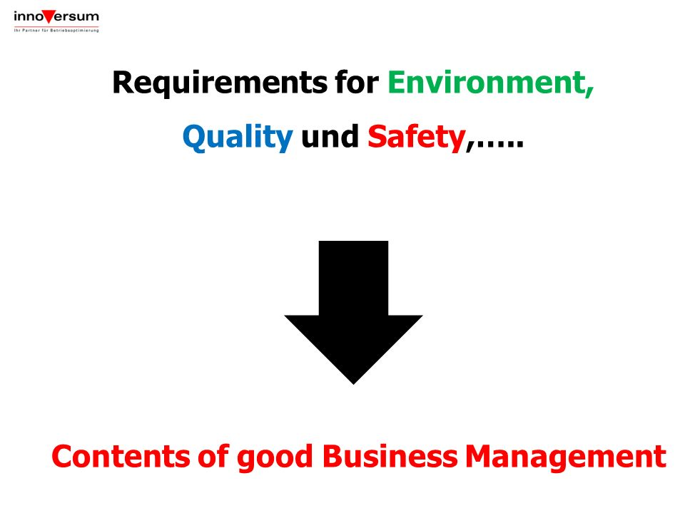 Requirements for Environment, Quality und Safety,…..