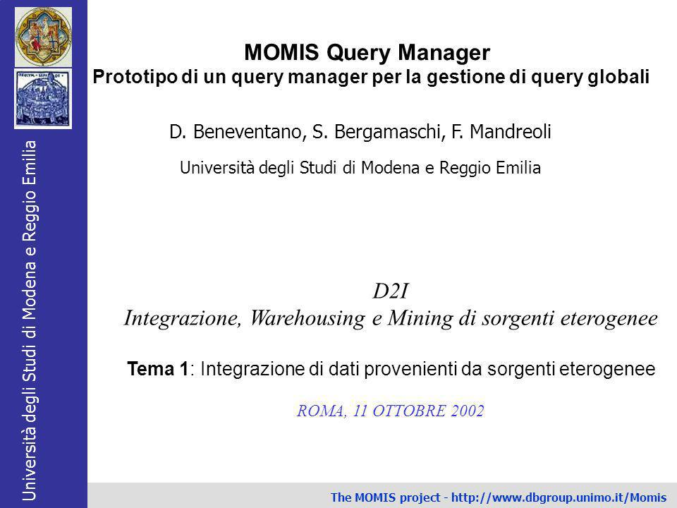 Prototipo di un query manager per la gestione di query globali