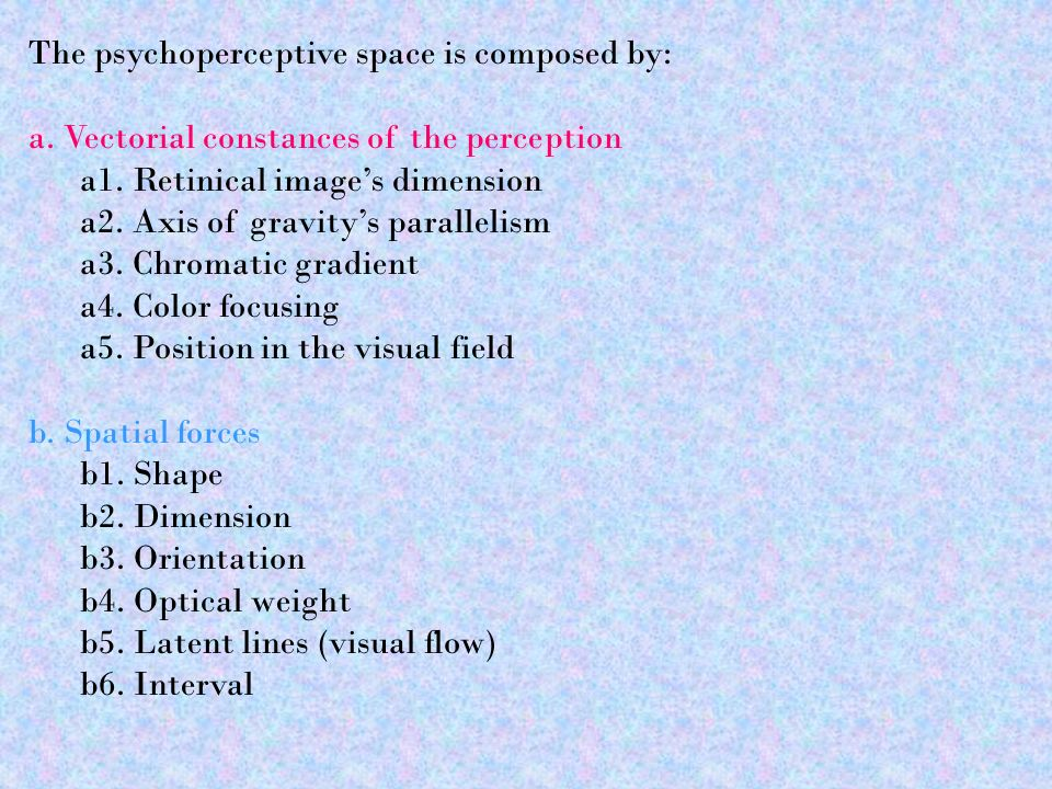 The psychoperceptive space is composed by: