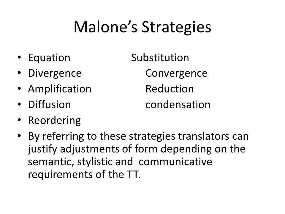 Malone's Strategies Equation Substitution Divergence Convergence