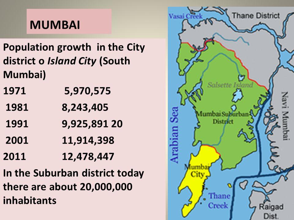 MUMBAI Population growth in the City district o Island City (South Mumbai) 1971 5,970,575. 1981 8,243,405.