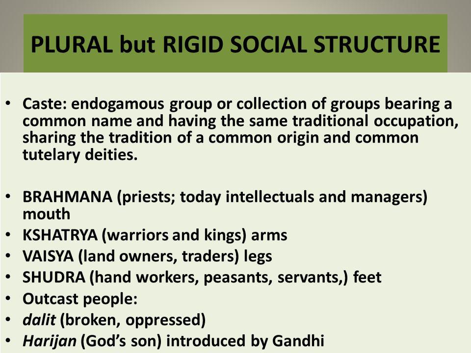 PLURAL but RIGID SOCIAL STRUCTURE