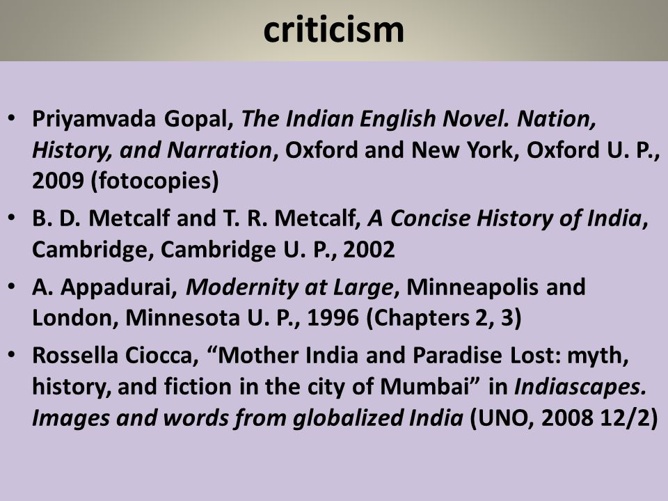 criticism Priyamvada Gopal, The Indian English Novel. Nation, History, and Narration, Oxford and New York, Oxford U. P., 2009 (fotocopies)