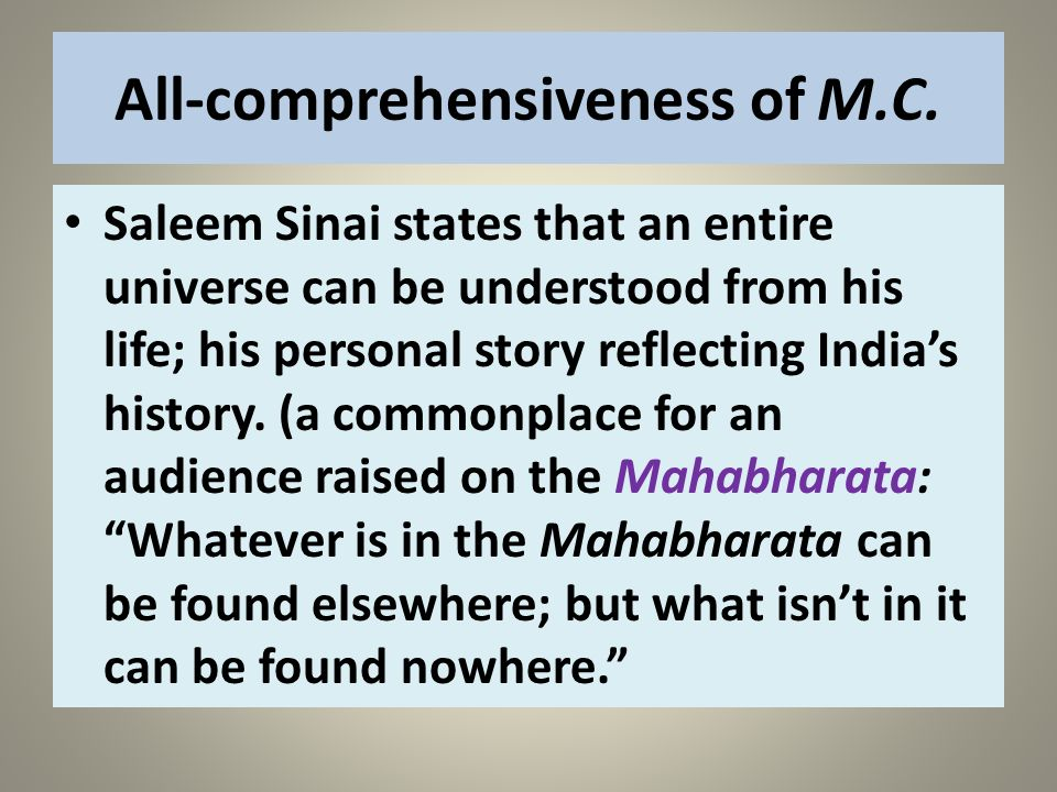 All-comprehensiveness of M.C.