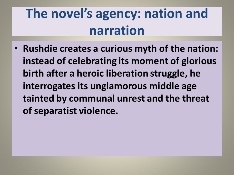 The novel's agency: nation and narration