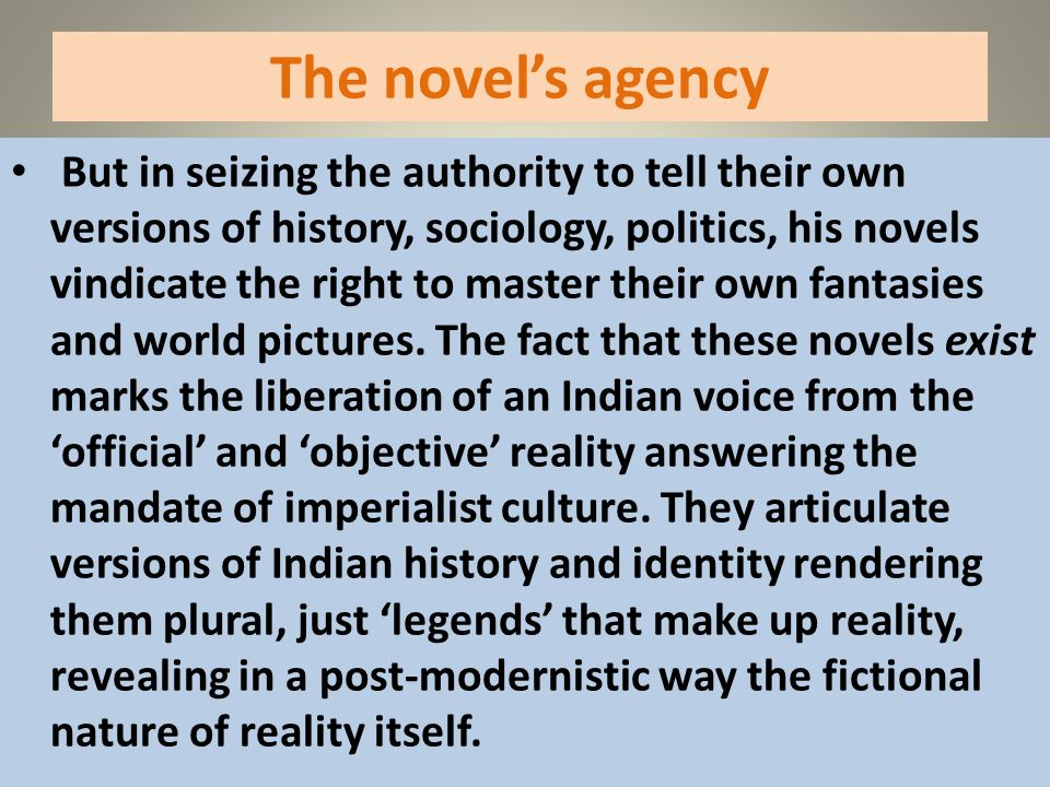 The novel's agency