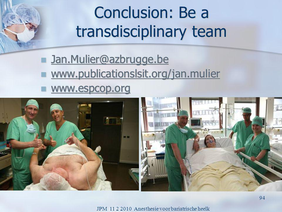 Conclusion: Be a transdisciplinary team