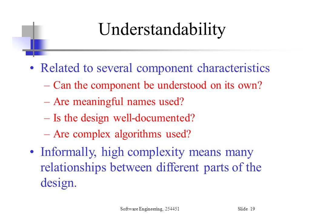 Understandability Related to several component characteristics