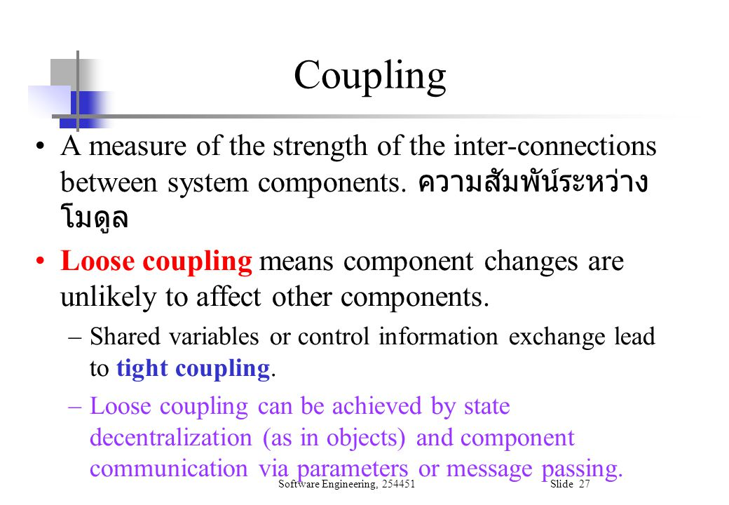 Coupling A measure of the strength of the inter-connections between system components. ความสัมพัน์ระหว่างโมดูล.
