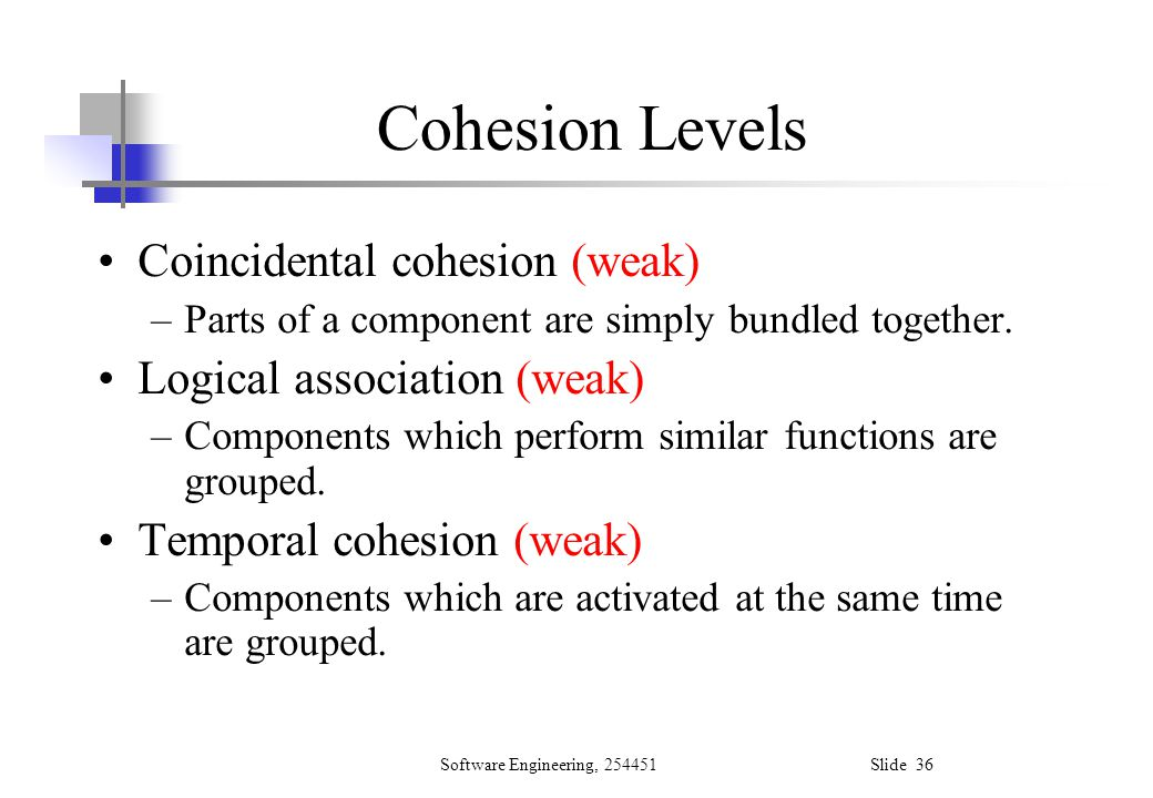 Cohesion Levels Coincidental cohesion (weak)
