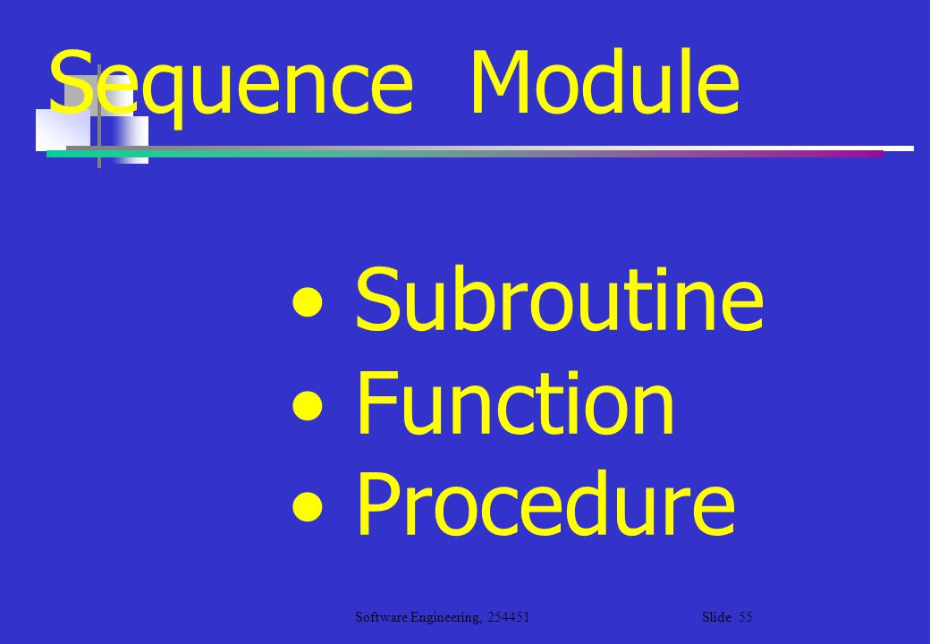 Sequence Module Subroutine Function Procedure