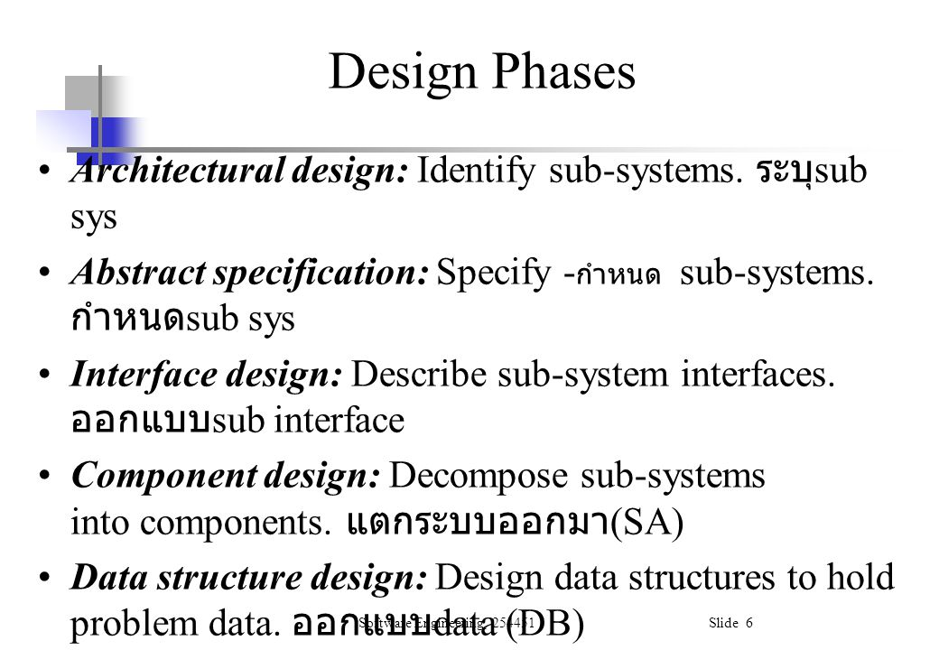 Design Phases Architectural design: Identify sub-systems. ระบุsub sys