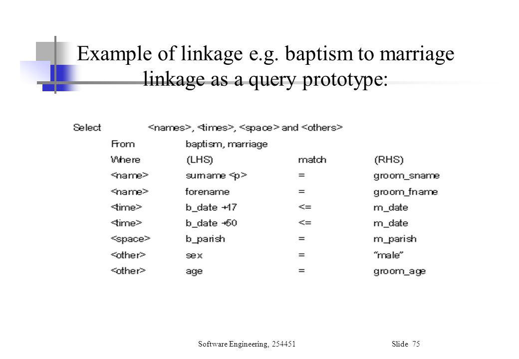 Example of linkage e.g. baptism to marriage linkage as a query prototype: