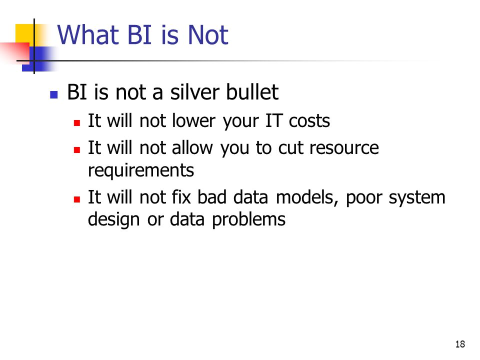 What BI is Not BI is not a silver bullet