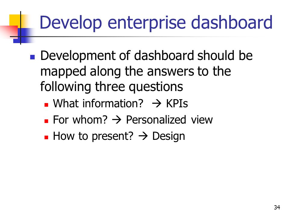 Develop enterprise dashboard
