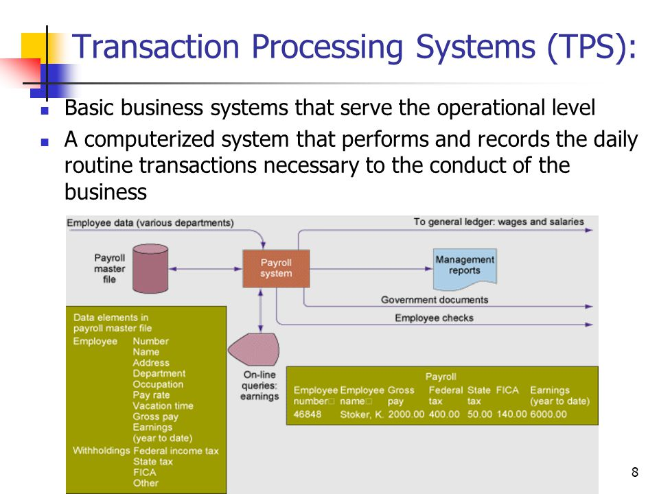 Transaction Processing Systems (TPS):
