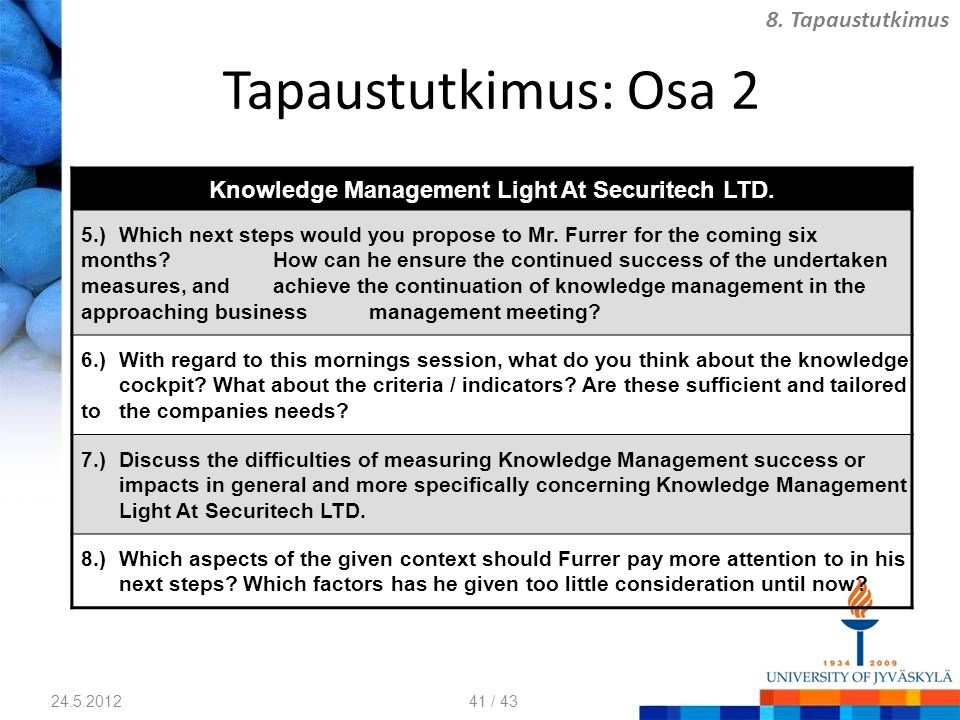 Knowledge Management Light At Securitech LTD.
