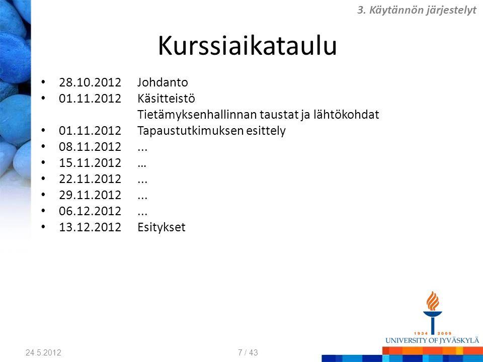 Kurssiaikataulu 28.10.2012 Johdanto 01.11.2012 Käsitteistö
