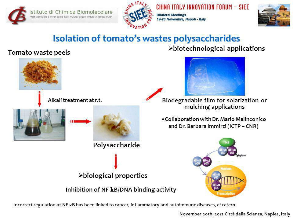 Isolation of tomato's wastes polysaccharides