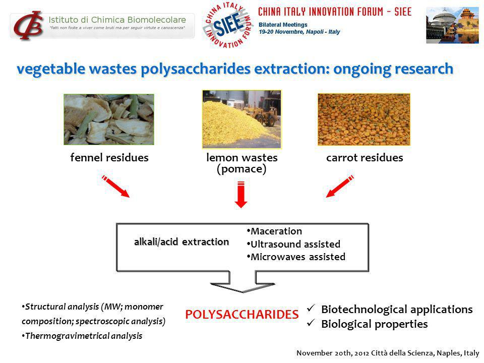 vegetable wastes polysaccharides extraction: ongoing research
