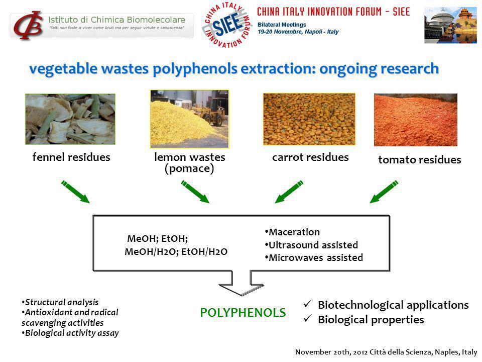 vegetable wastes polyphenols extraction: ongoing research