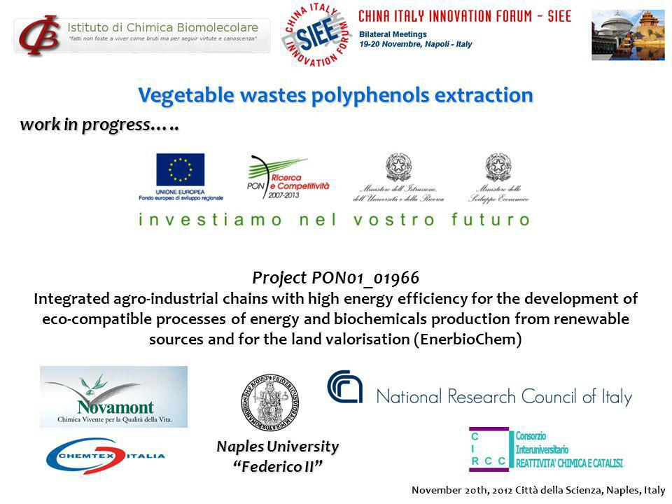 Vegetable wastes polyphenols extraction